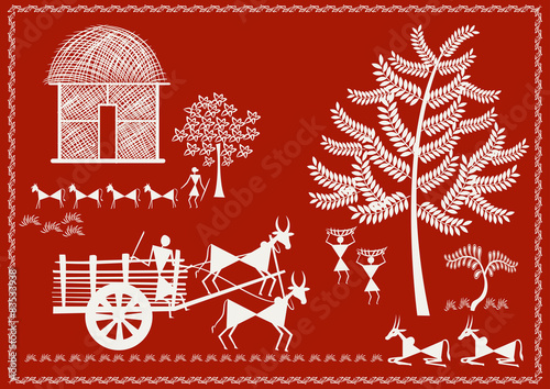 Vilage Life ' Ancient Indian Art - WARLI