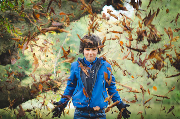 Boy (12-13) throwing up autumn leaves
