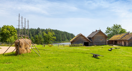 Russian rural landscape with old wooden houses