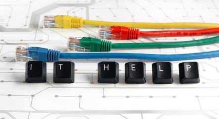 IT help, assistance, network cables circuit board background