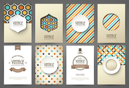 Set of brochures in vintage style. Vector design templates.