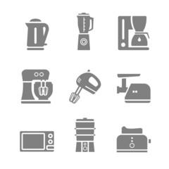 Kitchen appliances vector silhouette icon set