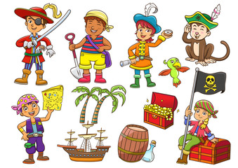 Illustration of pirate child cartoon