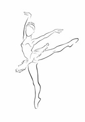 Ballerina. Dancer silhouette. Vector illustration