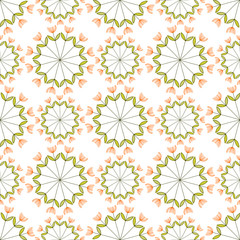Vector illustration of seamless pattern with creative flowers.
