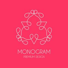 Simple  monogram design template, Elegant line art logo design,