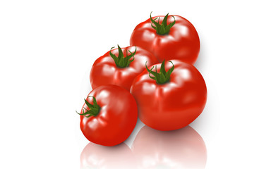Grupo de tomates sobre fondo blanco