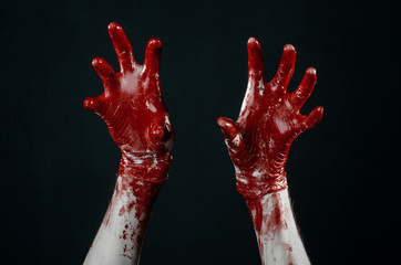 Bloody hands in white gloves, zombie, demon, maniac studio
