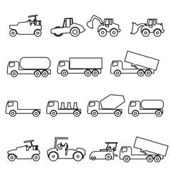 car  icon  truk line set vector Illustration on white background