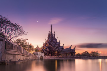 Sanctuary of Truth, Wooden temple construction at sunset in Thai