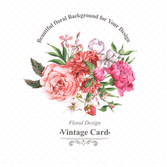 Vintage Watercolor Greeting Card with Blooming Flowers. Roses