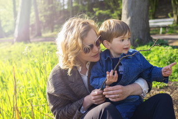 Mother and son enjoying outdoors