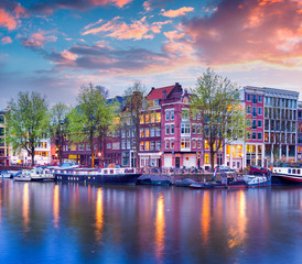 Canvas Prints Amsterdam Colorful spring sunset on the canals of Amsterdam