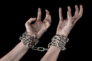 Hands tied chain, kidnapping, dependence, loneliness, social