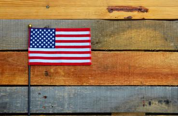 American Flag displayed on pallet wood