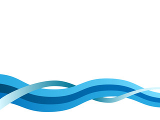 Abstract blue wavy  vector background with copy space.