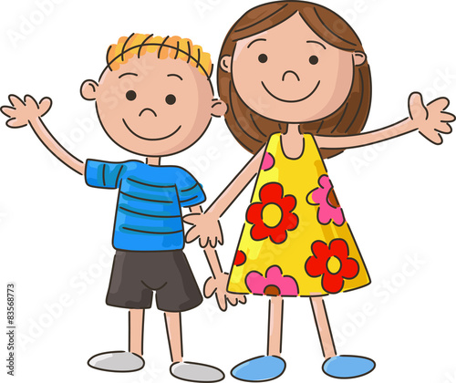 Stock Illustration of kids holding hands  five colorful