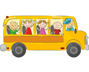 Happy children on school bus