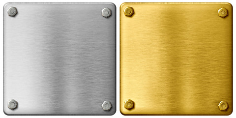Wall Mural - silver and gold metal plates with clipping path included