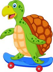 Cute turtle cartoon with skateboard
