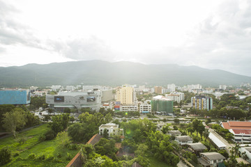 Top view of Chiangmai city Scape the dawn, Thailand