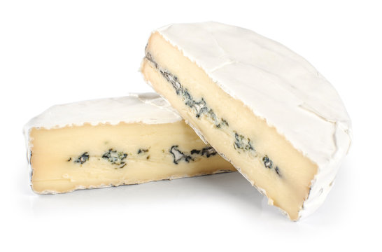 The cheese with a blue and a white mold isolated on white backgr