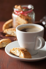 traditional italian cantuccini cookies and coffee