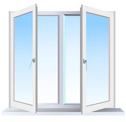Vector version of full opened modern window