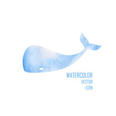 Vector watercolor image of a big whale.