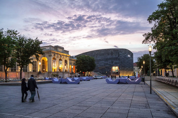 Foto op Aluminium Wenen Dusk at the Museumsquartier of the city of Vienna - Austria