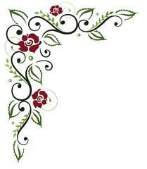 Rote Rosen mit Laub