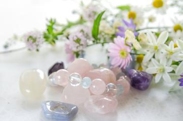gemstones with herbal flowers