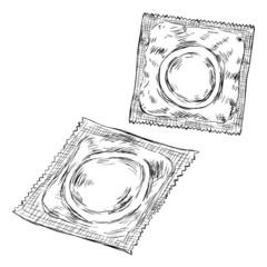 Vector Sketch Condoms in Package