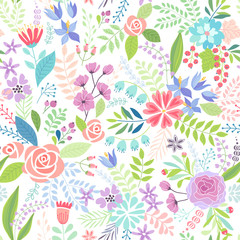 Wall Mural - Seamless Floral colorful hand drawn pattern.