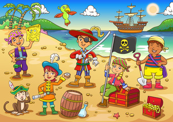 Illustration of pirate child cartoon.