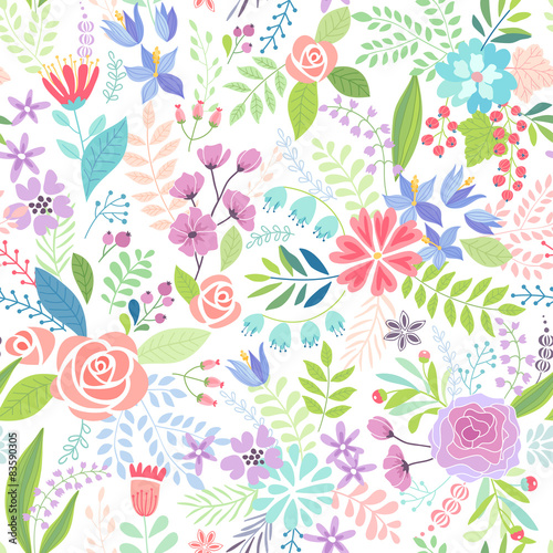 Wall mural Seamless Floral colorful hand drawn pattern.