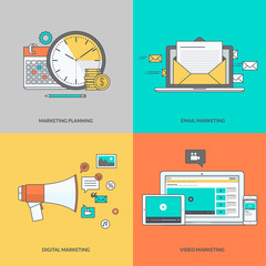 Set of color line icons on the theme of digital marketing