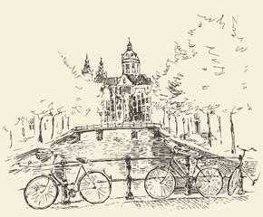 Streets in Amsterdam city, vector illustration