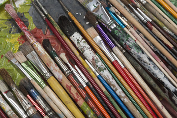 Colorful used Brushes
