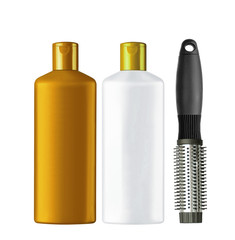 Plastic bottles shampoo and comb isolated on white background