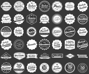 Button Siegel Premium Garantie Angebot Service Shop Logo grau