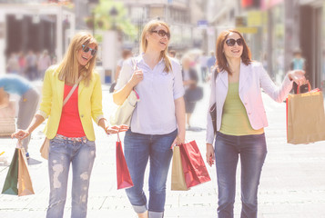 Shopping Female Friends Buying Outdoor