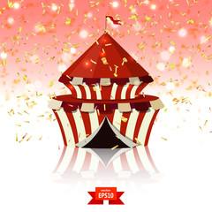 Circus tent of confetti on red glass background. Welcome! Vector