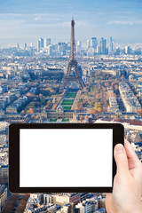 tourist photograph Paris skyline with Eiffel Tower