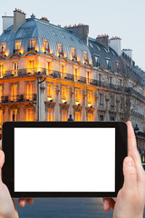 tourist photographs boulevard Saint Michel Paris