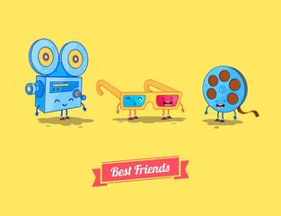 Vector funny cartoon. Funny camera, film and 3d glasses. Best