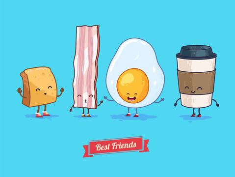 Vector funny cartoon. Funny cup, egg, bacon, croissant.  Best