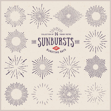 set of hand drawn retro sunbursts/bursting rays
