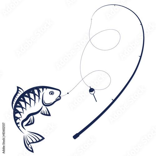 раскраска удочка с рыбками