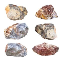big granite rock stones, isolated on white